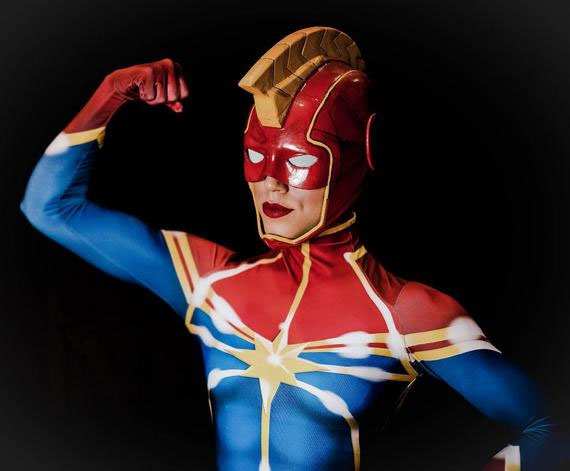 captain marvel cosplay mask